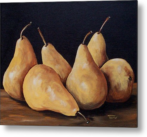Golden Bosc Pears Metal Print featuring the painting Bunch Of Bosc Pears by Torrie Smiley