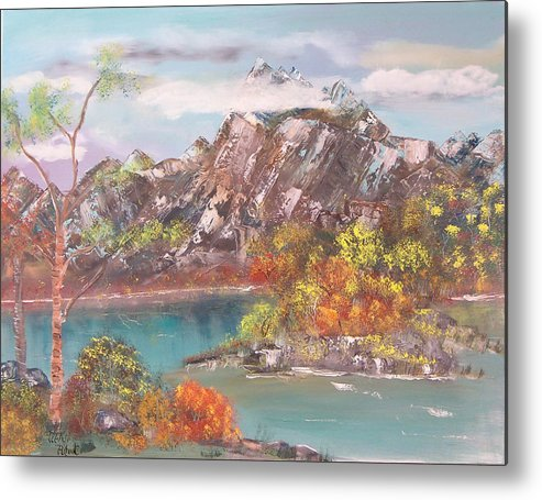 Landscape Metal Print featuring the painting Burning Bush by Mikki Alhart