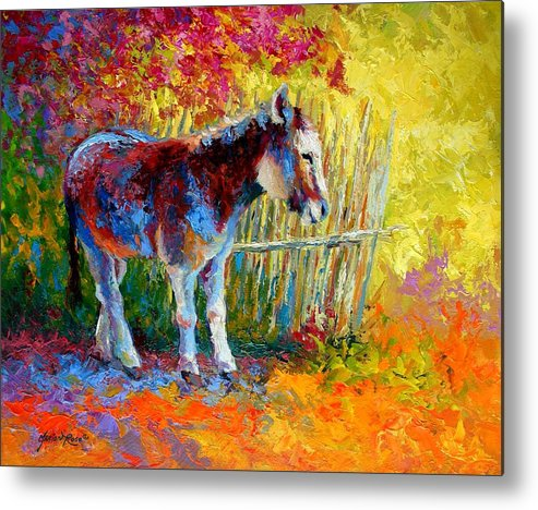 Western Metal Print featuring the painting Burro And Bouganvillia by Marion Rose