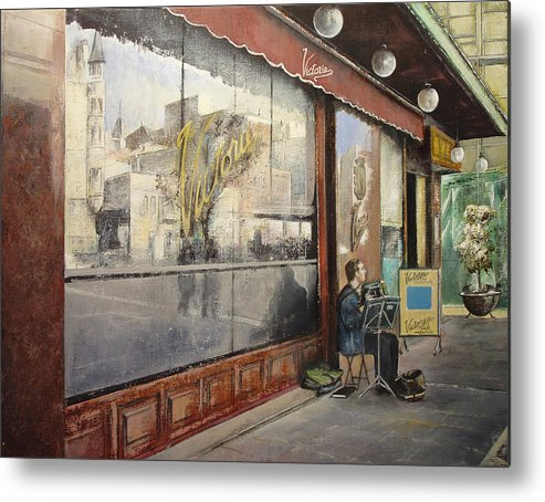 Cafe Metal Print featuring the painting Cafe Victoria by Tomas Castano