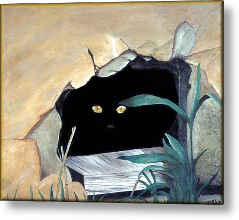 Cats Metal Print featuring the painting Can't See Me by Merle Blair