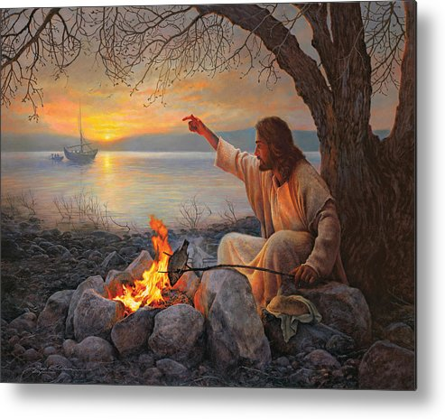 Jesus Metal Print featuring the painting Cast Your Nets on the Right Side by Greg Olsen