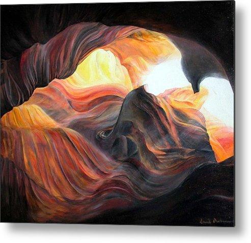 Landscape Metal Print featuring the painting Caverne by Muriel Dolemieux