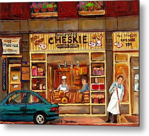 Montreal Metal Print featuring the painting Cheskies Hamishe Bakery by Carole Spandau