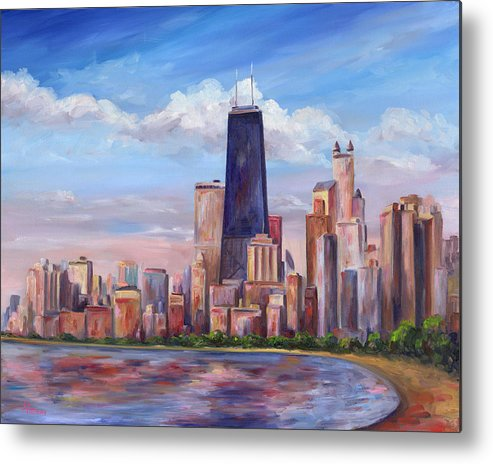 Chicago Metal Print featuring the painting Chicago Skyline - John Hancock Tower by Jeff Pittman