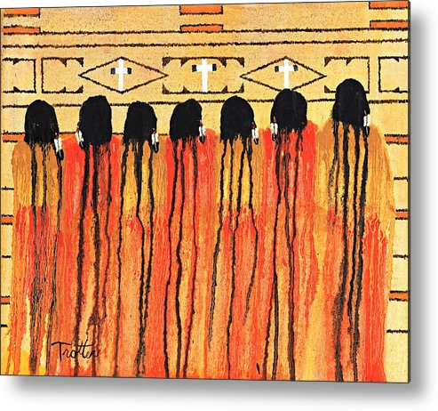 Indians Metal Print featuring the painting Chiefs Blanket by Patrick Trotter