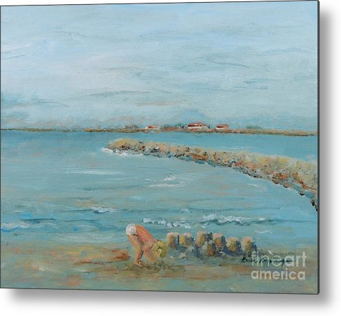Beach Metal Print featuring the painting Child Playing at Provence Beach by Nadine Rippelmeyer