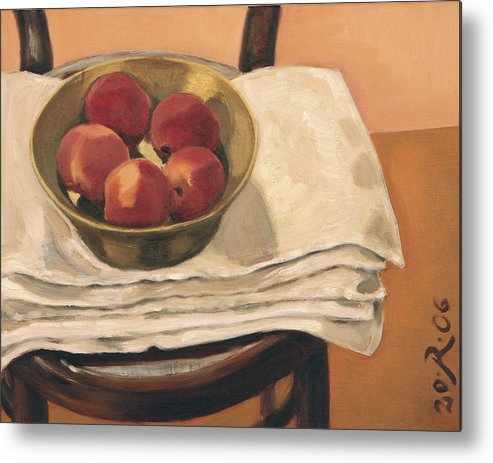 Still-life Apples Chair Red Yellow Gold Metal Print featuring the painting Christmas Apples by Raimonda Jatkeviciute-Kasparaviciene