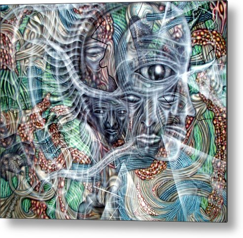 Surreal Metal Print featuring the painting Circuitry II by Leigh Odom