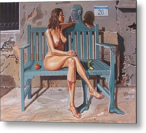 Surreal Metal Print featuring the painting Clandestine Libido by Ramaz Razmadze