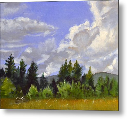 Clouds Metal Print featuring the painting Clouds Over Lace by Mary Chant