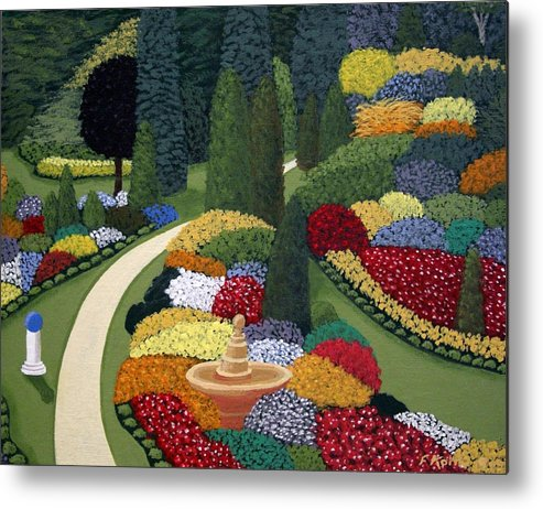 Landscape Paintings Metal Print featuring the painting Colorful Garden by Frederic Kohli
