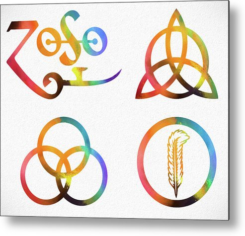 Colorful Zoso Symbols Metal Print featuring the mixed media Colorful Zoso Symbols by Dan Sproul