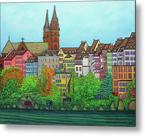 Lisa Lorenz Metal Print featuring the painting Basel, Colours of Basel by Lisa Lorenz