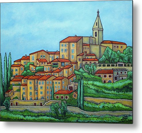 Provence Metal Print featuring the painting Colours of Crillon-le-Brave, Provence by Lisa Lorenz