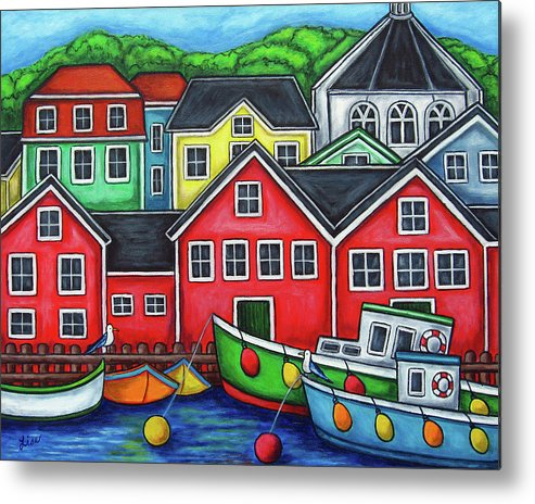 Nova Scotia Metal Print featuring the painting Colours of Lunenburg by Lisa Lorenz