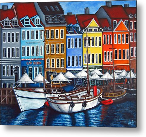 Nyhavn Metal Print featuring the painting Colours of Nyhavn by Lisa Lorenz