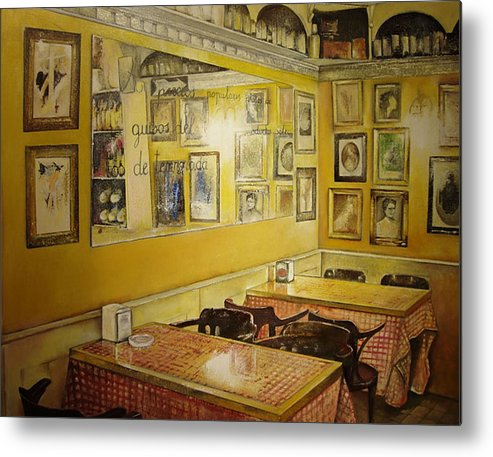 Interior Metal Print featuring the painting Comedor interior by Tomas Castano