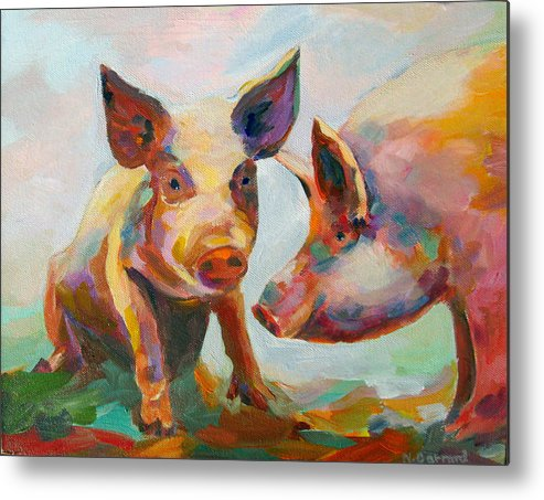Pigs Metal Print featuring the painting Consultation by Naomi Gerrard