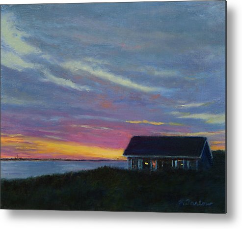 Landscape Metal Print featuring the painting Cottage with a View by Phyllis Tarlow