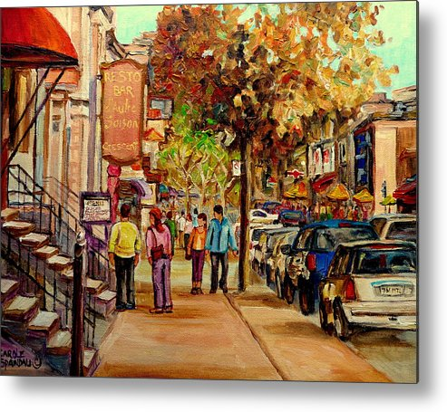 Montreal Streetscenes Metal Print featuring the painting Crescent Street Montreal by Carole Spandau