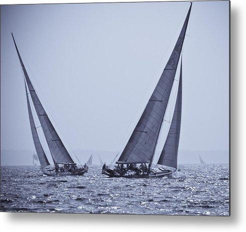 Sail Boats Metal Print featuring the photograph Crossing Tacks by Arthur Sa