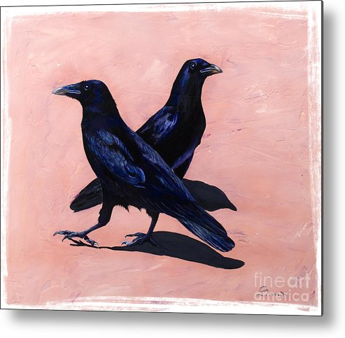 Crows Metal Print featuring the painting Crows by Sandi Baker