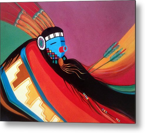 Kachina Metal Print featuring the painting Custom Kachina by Marlene Burns