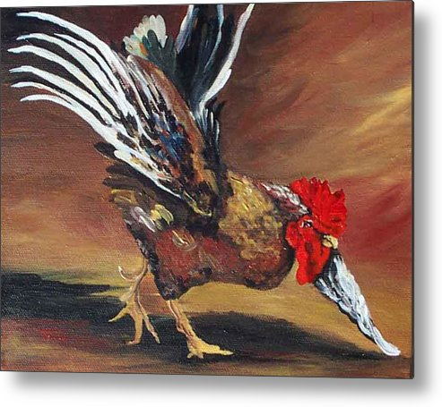 Chicken Metal Print featuring the painting Dancing Rooster by Torrie Smiley