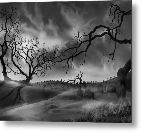 Copyright 2015 By James Hill Gallery Metal Print featuring the painting Dark Cemetary by James Christopher Hill