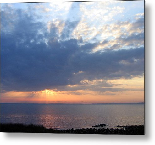 Sunrise-sunset Photography Metal Print featuring the photograph Dawn Sun Rays by Frederic Kohli