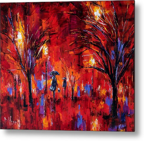 Umbrellas Metal Print featuring the painting Deep Red by Debra Hurd