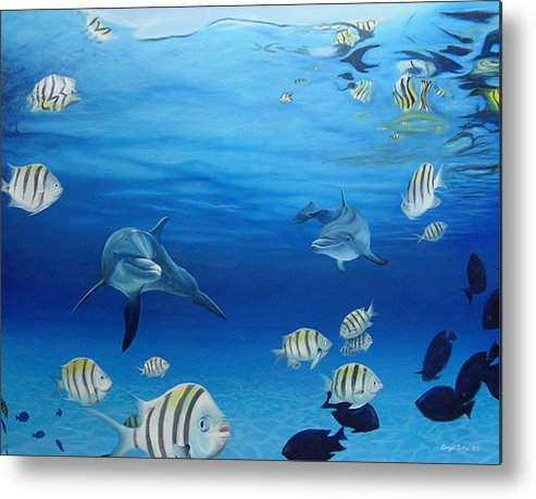 Seascape Metal Print featuring the painting Delphinus by Angel Ortiz