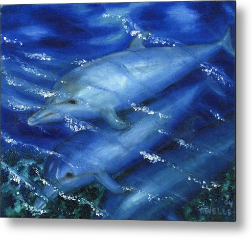 Dolphins Metal Print featuring the painting Dolphins Swimming by Tanna Lee M Wells