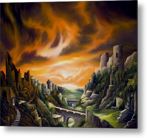 Ruins; Cityscape; Landscape; Nightmare; Horror; Power; Roman; City; World; Lost Empire; Dramatic; Sky; Red; Blue; Green; Scenic; Serene; Color; Vibrant; Contemporary; Greece; Stone; Rocks; Castle; Fantasy; Fire; Yellow; Tree; Bush Metal Print featuring the painting DualLands by James Christopher Hill