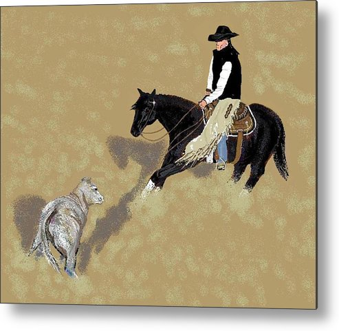 Horses Metal Print featuring the digital art Duet by Carole Boyd