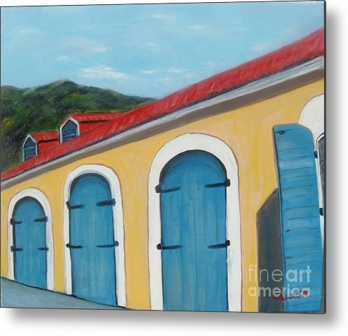 Doors Metal Print featuring the painting Dutch Doors of St. Thomas by Laurie Morgan