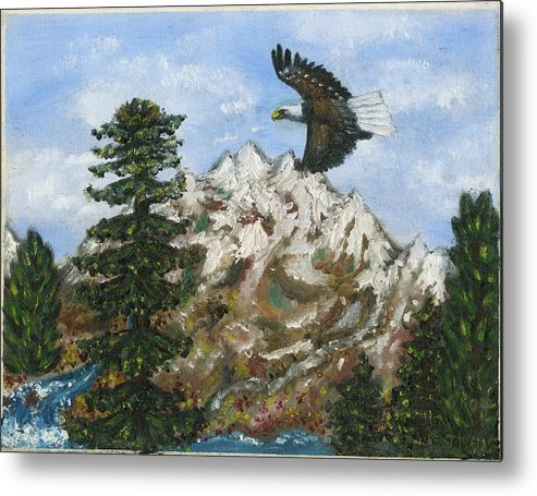 Eagle In Flight To Its Nest With Montana Mountains In Background Metal Print featuring the painting Eagle to Eaglets in Nest by Tanna Lee M Wells