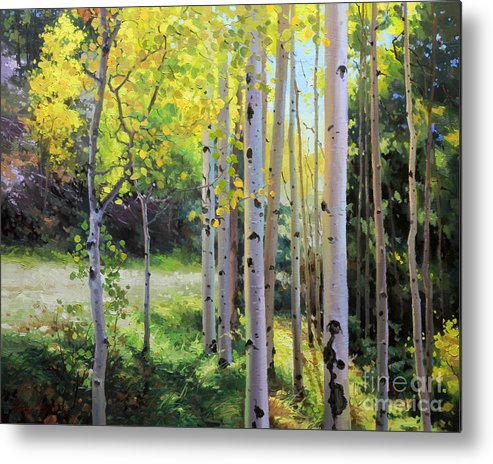 Aspen Tree Metal Print featuring the painting Early Autumn Aspen by Gary Kim