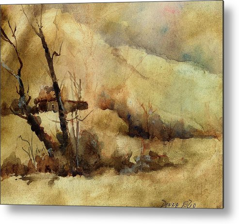 Watercolor. Impressionist. Landscape Metal Print featuring the print Early Winter by Donna Elio