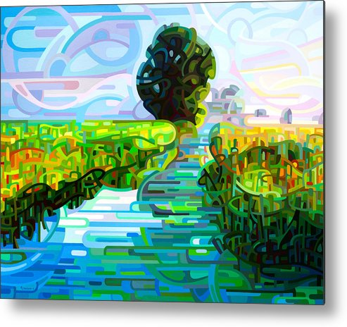 Abstract Metal Print featuring the painting Ebb and Flow by Mandy Budan