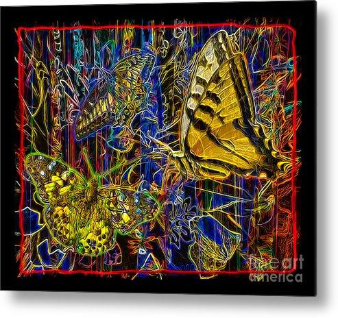 Butterfly Metal Print featuring the digital art Electric Butterflies by Chuck Brittenham