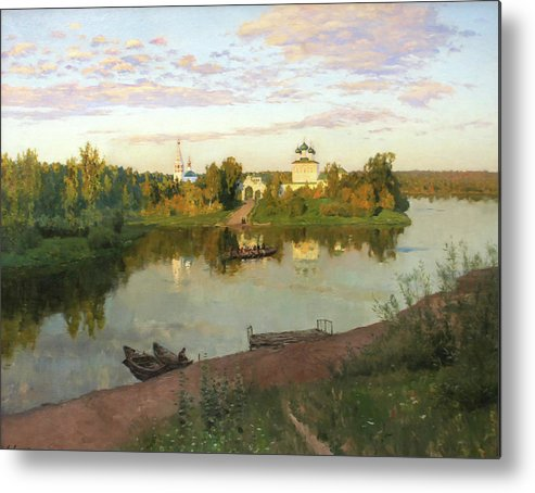 Isaac Levitan Metal Print featuring the painting Evening Bells by Isaac Levitan
