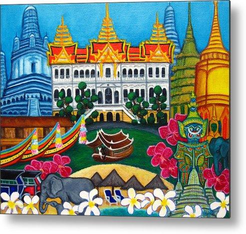 Bangkok Metal Print featuring the painting Exotic Bangkok by Lisa Lorenz