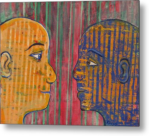 Friends Metal Print featuring the painting Eye To Eye by Rollin Kocsis