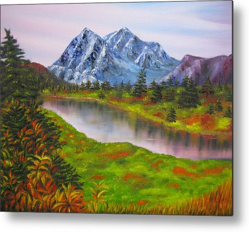 Fall Metal Print featuring the painting Fall In Mountains Landscape Oil Painting by Natalja Picugina