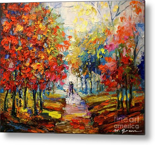 Artwork Metal Print featuring the painting Fall by Maya Green