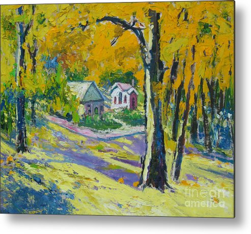 Trees Metal Print featuring the painting Fall scenery by Meihua Lu