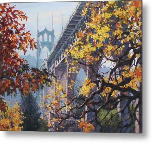 Portland Metal Print featuring the painting Fall St Johns by Karen Ilari