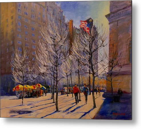 New York Metal Print featuring the painting Fifth Avenue - Late Winter At The Met by Peter Salwen
